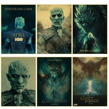 Night's King poster Game of Throne retro Posters Movie Vintage Retro Wall Home Decor Cafe Bar Retro decorations wall stickers