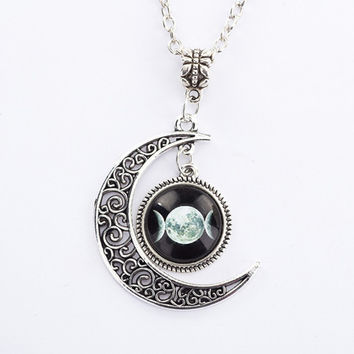 Onyx Triple Moon Goddess Pendant Pentacle Planet Necklace Wiccan Jewelry Glass Dome Silver Chain Hollow Pattern Necklaces