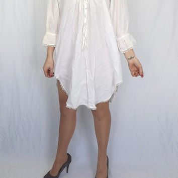 Vintage Saybury Night Shirt Victorian Nightgown Clara Nutcracker Costume  White Cotton Edwardian 1900s Lace Ruffled Wench 8b035620a
