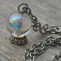 Crystal Ball Necklace Fortune Teller Jewelry Gypsy Gothic Goth Oracle Mystical Wiccan Pagan Wicca Occult Magic Witchcraft Witch Craft Tarot