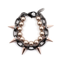 Lost Innocence Spike Bracelet with Bronze Pearls - Hematite/ Rose Gold / Bronze Pearls