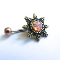 Pink Opal Starburst Belly Button Ring Navel Piercing Bronze Sun Stud Bar Barbell Star Burst