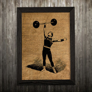 Strongman decor Burlap poster Antique print Victorian print BLP27