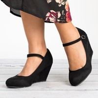 Mary Jane Wedge Pump - Black