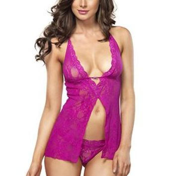The 2PC. Halter Flyaway Babydoll and G-string in Hot Pink