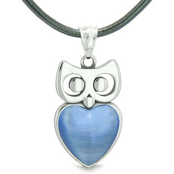Amulet Owl Cute Heart Lucky Charm Positive Energy Star Blue Cats Eye Leather Pendant Necklace
