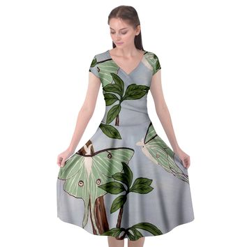 Lunar Moths Cap Sleeve Wrap Front Dress