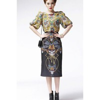 Women Individual Scoop Ox Horn Sleeve Asymetrical Lower Hem Chffion Pattern T-Shirt One Size@WY2030pa $21.77 only in eFexcity.com.