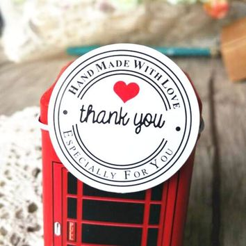 """100PCS """"Thank you"""" Round White Kraft Stationery label sticker DIY Retro Seal sticker For products handmade with Love"""