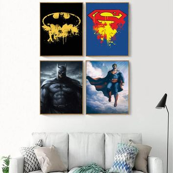 Batman Dark Knight gift Christmas Wall Art Pictures Canvas Painting Poster DC Movie Superhero Superman With Batman Canvas Painting Picture Living Room Decoration AT_71_6