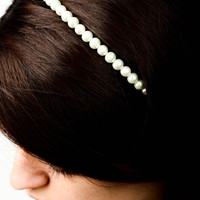 Handmade hair accessories white beaded headband hairband gift handmade jewelry