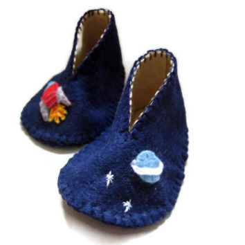 Rocket Baby Booties - Space Theme Blue & Cream Felt, Baby Shoes 0 to 3 months