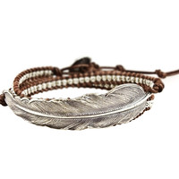 Woven Leather Feather Bracelet
