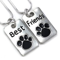 Black Dog Doggy Puppy Paws Best Friends Forever BFF Necklace Pendant Animal Lovers Teen Teenager Lady Women Engraved Letters Dog Tags Style Jewelry