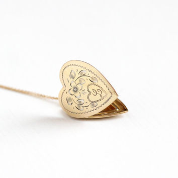 Vintage 10k Gold Filled on Sterling Silver Heart Initial L Locket Necklace - 1940s Cursive Letter Sweetheart Pendant Romantic Flower Jewelry
