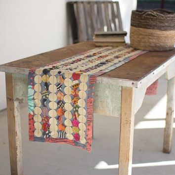 Recycled Kantha Round Patch Runner