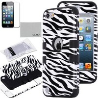 Pandamimi ULAK(TM) 3-Piece Defender Hybrid Impact Zebra Skin Hard Case Cover and Soft Silicon Inner Shell for Apple iPod Touch 5 5th Generation + Screen Protector (cleaning cloth with ULAK Logo) (Zebra Skin & Black)