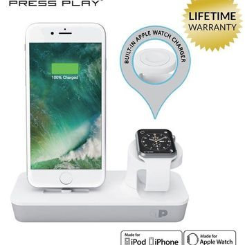DCK4S2 ONE Dock Duo (APPLE CERTIFIED) Power Station Dock, Stand & Charger with Built-in ORIGINAL Charger for Apple Watch Smart Watch (Series 1,2,3, Nike+), iPhone X/10/8/8 Plus/7/7Plus/6s/6s, & iPod - White