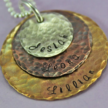 Personalized Mother's Necklace for Mom of three --- Three names on a hand stamped necklace, personalized for you
