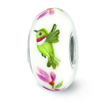 Sterling Silver Reflections White Hand Painted Hummingbird Glass Bead QRS3662 Size:  x  mm QRS3662