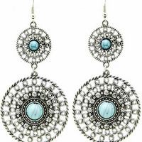 Double Disk Natural Stone Earrings