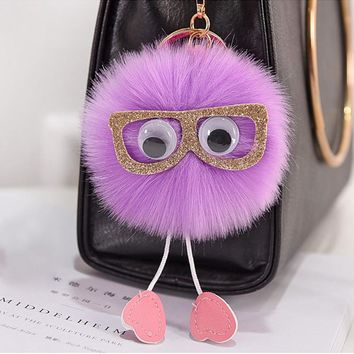 Original 2017 Pompom Glasses Toy Keychain Cute Women Fluffy Artificial Rabbit Fur Pompon Key Chain Keyring For Bag Cars Pendants