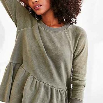 Truly Madly Deeply Clean Sweep Long-Sleeve Peplum Tee - Urban Outfitters