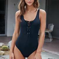 LA Hearts Lace-Up One Piece Swimsuit at PacSun.com