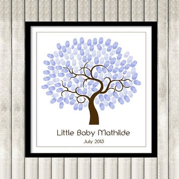 Thumbprint Tree Guest Book Poster Printable Baby Shower, Nursery Wall Art, Purple, Custom Text, Color and Language available