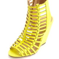 Caged Laser-Cut Peep Toe Wedges by Charlotte Russe - Yellow