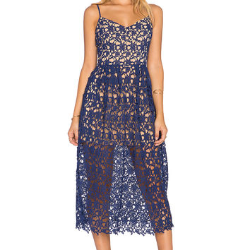 Toby Heart Ginger x Love Indie Bella Crochet Midi Dress in Navy & Nude