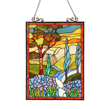 ALMOSTiffany-glass Floral Window Panel 18X24