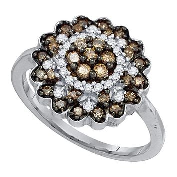 10kt White Gold Women's Round Cognac-brown Color Enhanced Diamond Flower Cluster Ring 5/8 Cttw - FREE Shipping (US/CAN)