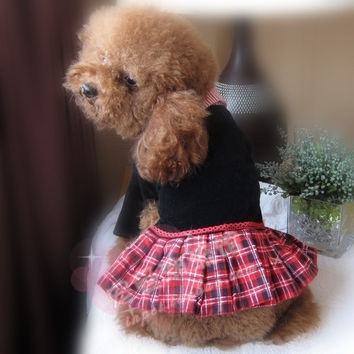 Pet Clothing & Apparel Dogs Costumes British Styled Shirt w/ Plaid Skirt Dog Store -Size 18