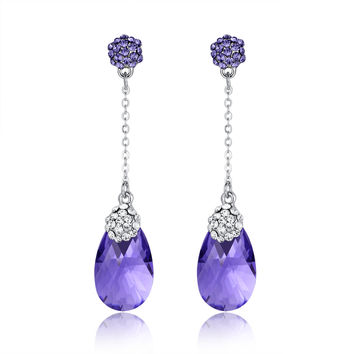 Pear Drop Swarovski Elements Crystal Dangle Earrings - Purple