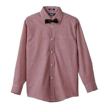 Chaps Gingham Shirt & Bow Tie Set   Boys 8 20 (red)