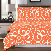 Victoria Tangerine Duvet Cover 100% Combed cotton