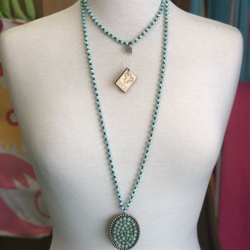 Silver oval w/ turq necklace