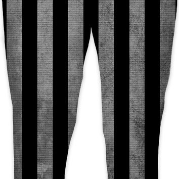 Beetlejuice suit like jogging pants, black and white vertical stripes pattern, halloween style joggers