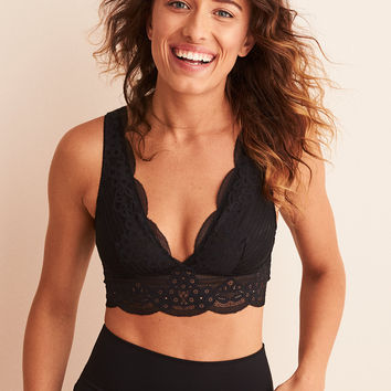 Aerie Wonder Lace Strappy Back Bralette, True Black