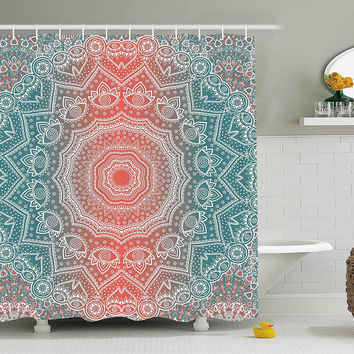 navy coral shower curtain. Coral  Teal Boho Mandala Fabric Shower Curtain Best Products on Wanelo