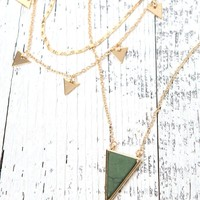 LA Hearts Green Stone Necklace - Womens Jewelry - Gold - One