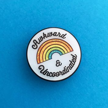 Awkward and Uncoordinated Enamel Pin in Rainbow Glitter