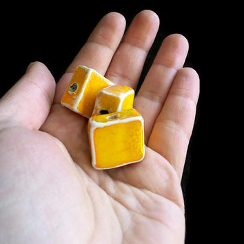 Beads- Set of three square orange ceramic beads-  jewelry/craft suppllies- Beading- Large handmade beads