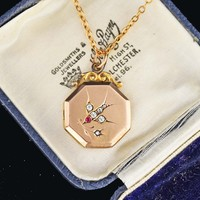 Vintage Diamond Paste Swallow Locket Pendant Necklace