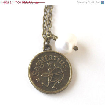 VALENTINES DAY SALE Sagittarius astrology zodiac star sign charm and white pearl antique bronze necklace
