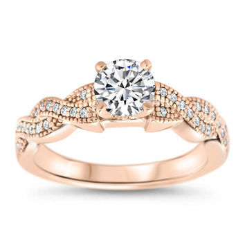 Braided Diamond Setting Moissanite Engagement Ring - Regina