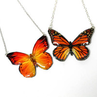 Monarch Butterfly necklaces, Colorful orange butterfly necklace, Butterfly jewelry, Summer jewelry,  Wing necklace, Butterfly pendant, Gift