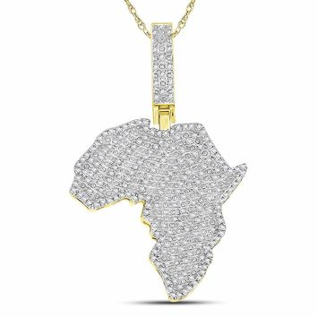 10kt Yellow Gold Mens Round Diamond Africa Continent Charm Pendant 5/8 Cttw