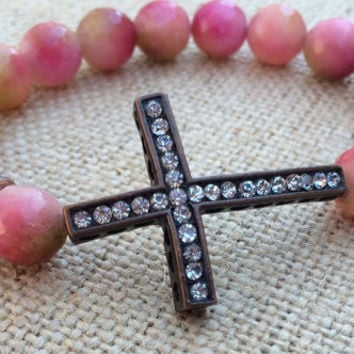 Watermelon Agate Beaded Bracelet, Rhinestone Cross Agate Bracelet, Watermelon Bracelet, Sideways Cross Bracelet, Stretch Bracelet,
